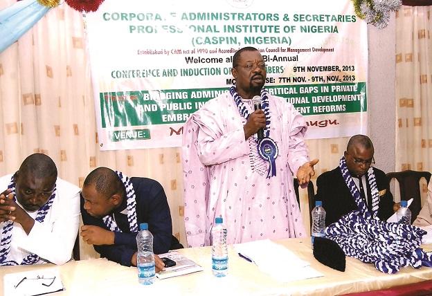2013 induction- CASPIN President making a speech